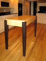 White Oak table with dark walnut stained legs